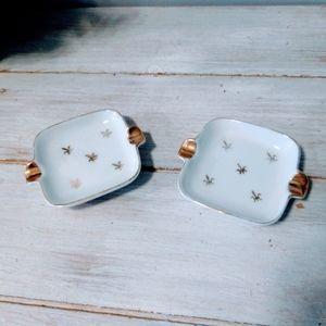 Vintage Lefton Ashtray Set White & Gold